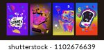 colorful summer poster set.... | Shutterstock .eps vector #1102676639