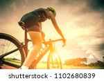 the cyclist rides on his bike... | Shutterstock . vector #1102680839