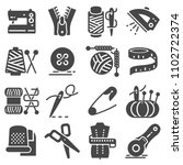 simple set of sewing related... | Shutterstock .eps vector #1102722374