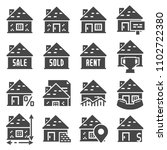 real estate icons set with... | Shutterstock .eps vector #1102722380