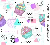 memphis seamless pattern with... | Shutterstock .eps vector #1102728659