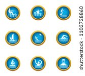swimming in water icons set.... | Shutterstock .eps vector #1102728860