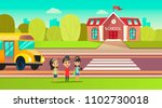 pupils are near the school bus. ...   Shutterstock .eps vector #1102730018
