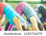 group of people practicing yoga ... | Shutterstock . vector #1102736270