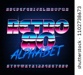 80's retro alphabet font....   Shutterstock .eps vector #1102738673