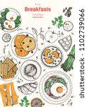 breakfasts top view frame.... | Shutterstock .eps vector #1102739066