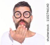 bearded man in black glasses... | Shutterstock . vector #1102746140