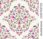 Classic Otoman Turkish style seamless pattern, traditional islamic motif with leaves and flowers - raster version