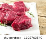 pieces of raw meat. raw beef... | Shutterstock . vector #1102763840