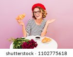 happy traveling woman in france ... | Shutterstock . vector #1102775618