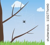 a web with a spider on a tree.... | Shutterstock .eps vector #1102776440