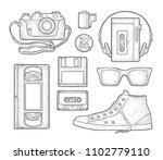set retro technology object....   Shutterstock .eps vector #1102779110