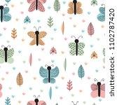 hand drawn seamless pattern... | Shutterstock .eps vector #1102787420