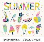 summer lettering and elements...   Shutterstock .eps vector #1102787426