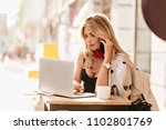 adorable fair haired girl with...   Shutterstock . vector #1102801769