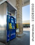 Small photo of Houston, Texas, USA, SEPTEMBER 07 2017: Gas pump depleted. Hurricane Harvey & Irma storm caused shortage of gasoline at the stations. Fuel station is out of service due to lack of fuel.