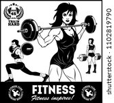 girls with barbell  beautiful... | Shutterstock .eps vector #1102819790