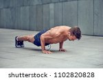 fit muscular shirtless young... | Shutterstock . vector #1102820828
