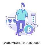 man standing with a bitcoin ... | Shutterstock .eps vector #1102823000