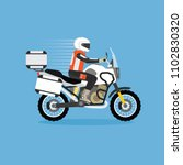 man riding touring motorcycle | Shutterstock .eps vector #1102830320