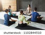 yoga teacher and beginners in...   Shutterstock . vector #1102844510