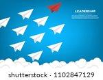 red paper plane leading white... | Shutterstock .eps vector #1102847129