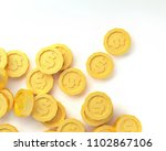 lowpoly gold coins isolated on... | Shutterstock . vector #1102867106