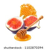 honeycomb  honey dipper and fig ... | Shutterstock . vector #1102870394