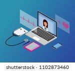 3d isometric telemedicine flat...   Shutterstock .eps vector #1102873460