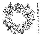 vector round frame of roses....   Shutterstock .eps vector #1102879073