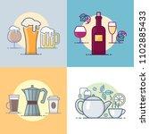 drinks  beer  wine  coffee  tea.... | Shutterstock .eps vector #1102885433
