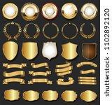 golden retro labels badges... | Shutterstock .eps vector #1102892120