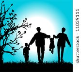 happy family walks on nature ... | Shutterstock .eps vector #11029111