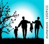 happy family walks on nature ... | Shutterstock .eps vector #11029111