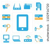 set of 13 icons such as mobile...