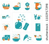 set of 13 icons such as soap ...