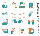 set of 13 icons such as hands ...