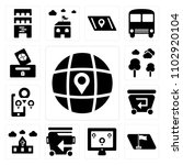 set of 13 icons such as globe ...