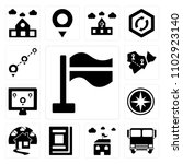 set of 13 icons such as flag ...