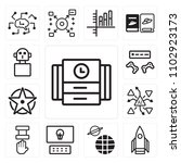 set of 13 icons such as time...