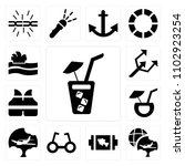 set of 13 icons such as soda...