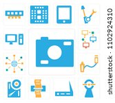 set of 13 icons such as photo...