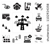 set of 13 icons such as highway ...
