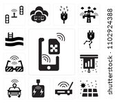 set of 13 icons such as sim ...