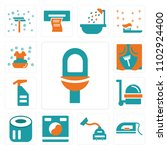 set of 13 icons such as toilet  ...