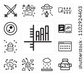 set of 13 icons such as bar...