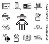 set of 13 icons such as android ...