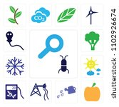 set of 13 icons such as loupe...