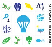 set of 13 icons such as hot air ...