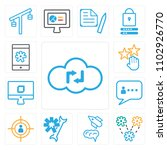 set of 13 icons such as cloud...